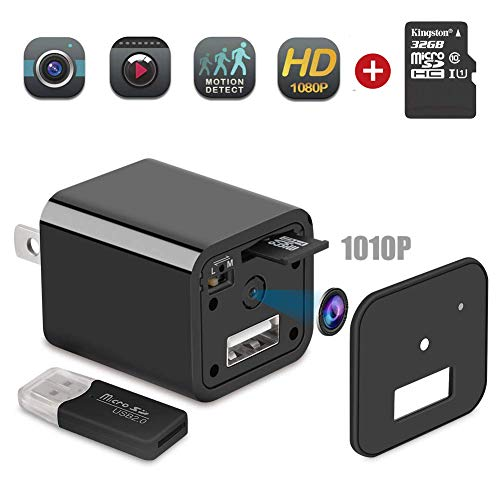 Spy Camera Charger – Hidden Camera – Mini Spy Camera 1080p – Hidden Nanny Cam – SD Card 32GB – Surveillance Camera Full 1080 HD – Premium Pack – USB Charger Camera – Motion Detection – Loop Recording