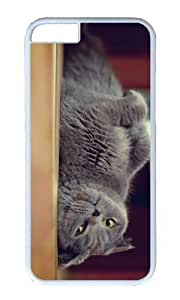 MOKSHOP Adorable cute gray cat Hard Case Protective Shell Cell Phone Cover For Apple Iphone 6 Plus (5.5 Inch) - PC White