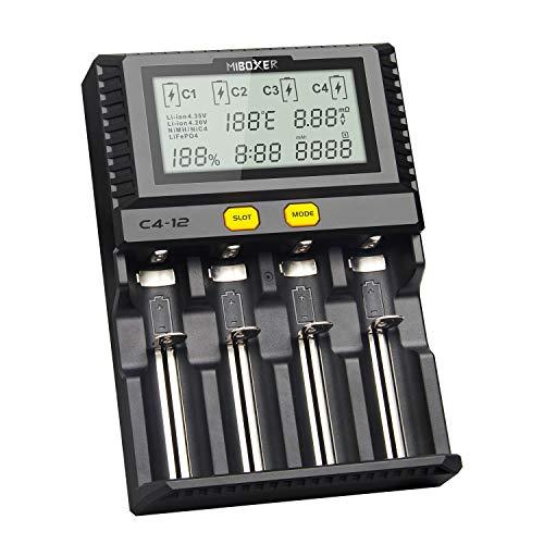 Smart Akku 18650 265650 Ladegerät 4-Slot LCD-Bildschirm 3,0A/Slot insgesamt 12A gleichzeitig für Li-Ion/IMR/INR/ICR/NI…