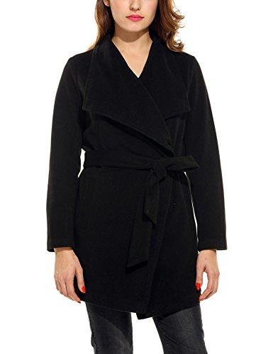 Belted Wool Jacket (ACEVOG Women's Lapel Collar Long Sleeve Outwear Belted Wool Blend Wrap Coat(Black,XXL))