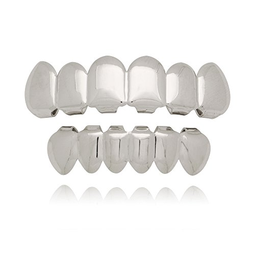 Lureen Silver Plated Hip Hop Teeth Grills Caps 6 Top & Bottom Grills Set (Silver Teeth Grills)