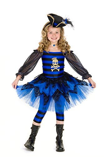 Princess Paradise Girl's Priscilla Pirate Costume, Blue/Black, Large