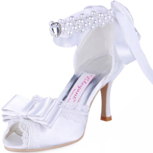 Satin Ankle Bow (ElegantPark A3202 Women's Peep Toe High Heel Bow Lace Edge Pearls Ribbon Satin Wedding Bridal Pumps Shoes White US 8)