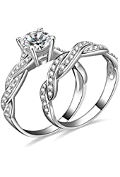 1.5ct Infinity Wedding Band Anniversary Engagement Ring Bridal Set 925 Sterling Silver Cubic Zirconia