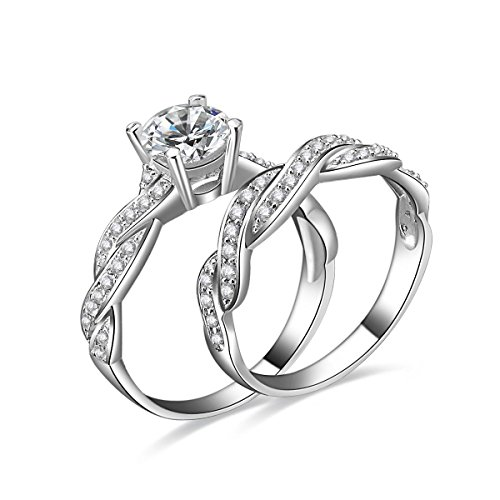1.5ct Infinity Wedding Band Anniversary Engagement Ring Bridal Set 925 Sterling Silver Cubic Zirconia Size 4.5