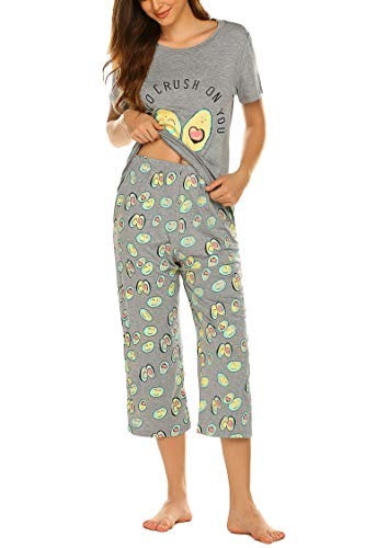 MAXMODA Women's Rayon Printed Top with Capri Pants Pajama Set Avocado M