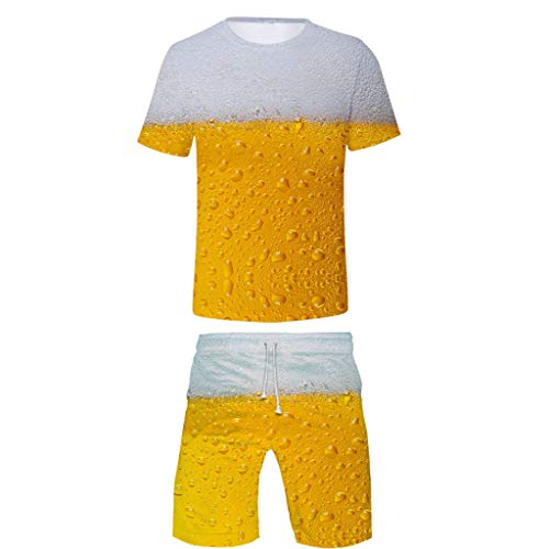 FEDULK Men's Novelty Casual Suit Festival Holiday Costume Beer Print Short Sleeve Tops Short Pants S-4XL(Yellow, ()