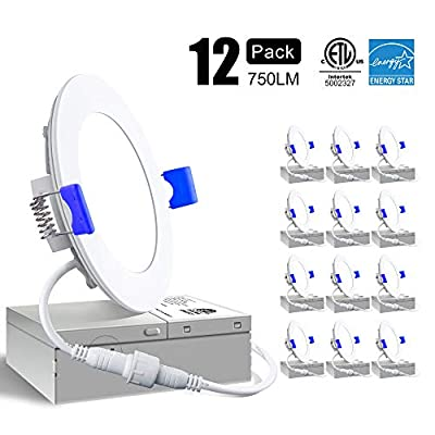 Ensenior 12 Pack 4 Inch Ultra-Thin LED Recessed Ceiling Light with Junction Box, 3000K/4000K/5000K, 9W 75W Eqv, Dimmable Can-Killer Downlight, 750LM High Brightness - ETL and Energy Star Certified