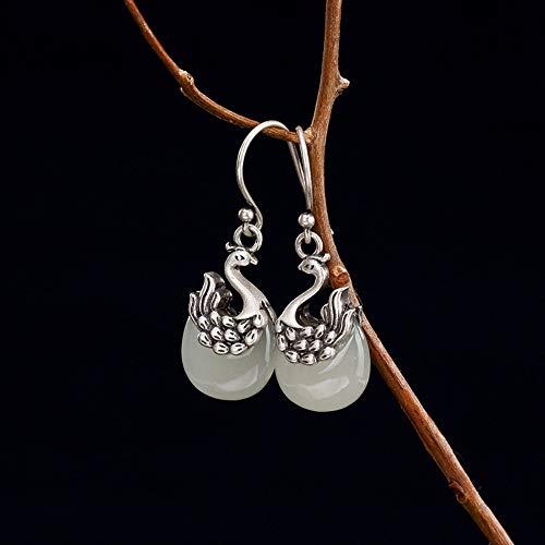 THTHT Vintage Earrings S925 Sterling Silver Women Natural Hetian Jade White Jade Phoenix Elegant Temperament High-End Gift Jade Earrings