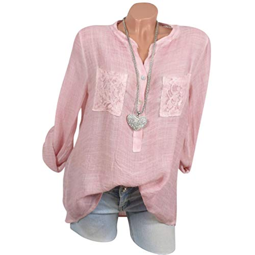 Xinwcang 4 Size Col Femme Casual Chemisier 3 Longue Manche Top Pullove Plus Bouton Chemise Blouse Pink V rRSrYnxqU
