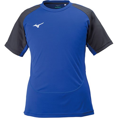 物理ライトニング世界記録のギネスブック[ミズノ] メンズ レディース サッカー フットサル 半袖 プラクティスシャツ ソーラーカット フィールドシャツ サーフブルー×ブラック S