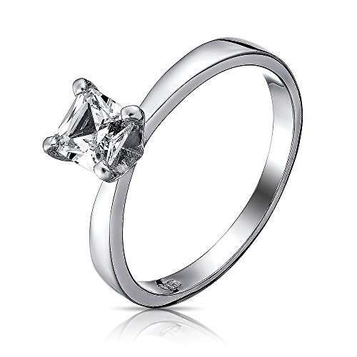 VE-01125 Sterling Silver Cubic Zirconia Solitaire 5mm Princess Cut CZ Engagement Ring (6)