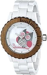 Sprout Women's ST/6507MPWT Owl Dial White Corn Resin Swarovski Elements Bracelet Watch