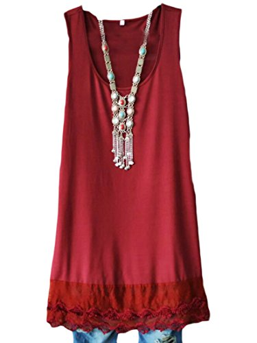 Beach Tank Red Shift Sleeveless Mini Women Dress Lace Domple Sundress Stitching Wine 7q58Pfgw