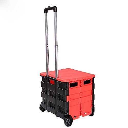 Folding Two-Wheeled Trolley Hand Cart Plastic Hefty Heavy Carry Shopping Travel Casual Handcart with Lid [US STOCK] - Folding Wheeled Cart
