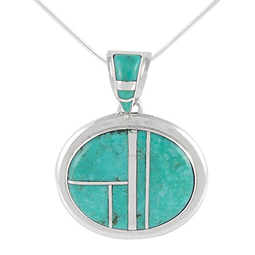 Turquoise Pendant Necklace in Sterling Silver 925 & Genuine Turquoise (Select Style) (Oval Inlay)