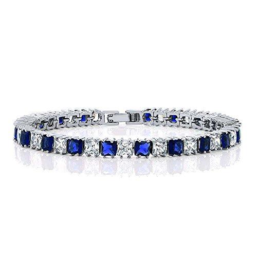 Gem Stone King 15.00 Ctw Sparkling Princess Cut Blue & White Cubic Zirconia CZ Tennis Bracelet 7 Inch
