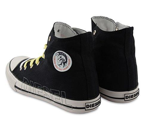 Diesel High Top Herren Sneaker plimsole Canvas Schuhe, Schwarz - schwarz - Größe: 40 EU