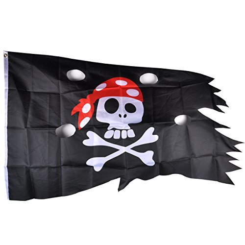 eZAKKA Pirate Flag Red Hat Pirate Skull and Crossbones flags