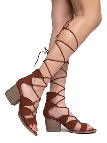 Melly Lace up Sandal, Whiskey Suede, 9 B(M) US