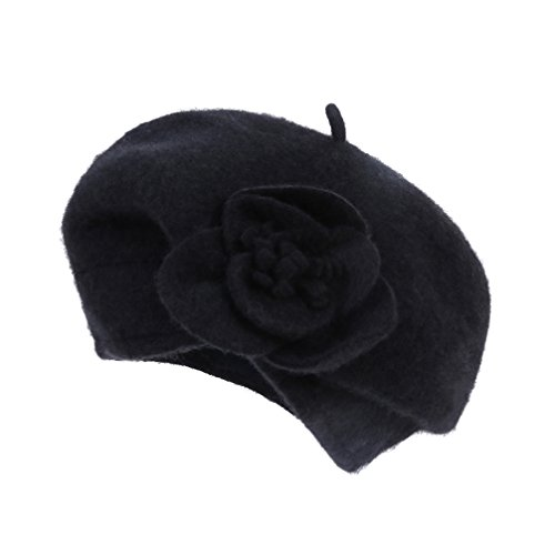 Dantiya Women's 100% Wool Cloche Hat Bucket Floral Winter Vintage Beret Beanie Hat (One Size, Black)