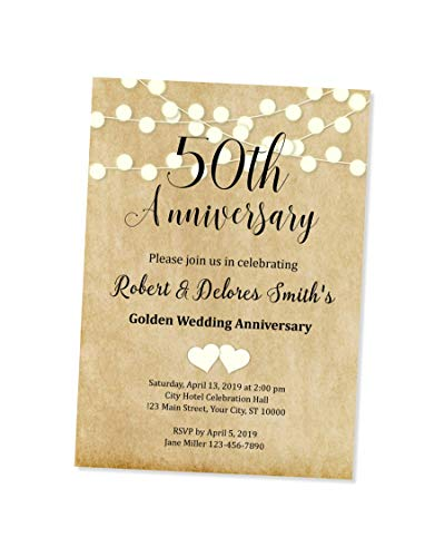 50th Wedding Anniversary Invitation, String of Lights 50th Anniversary Invites, Custom Personalized 50th Anniversary Invitations