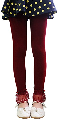 Girls Solid Color Leggings with Lace Trim Ribbon Bowknot Burgundy 5T