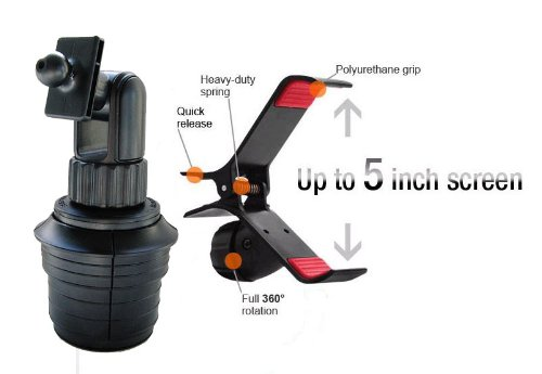 GA-UVM+ME-CM+STGN: i.Trek Universal Cup Holder Mount with Bracket for iPhone 5 4S 4 3GS Samsung Galaxy S3 S4 Note 1 2 HTC One EVO LTE DNA Rhyme DROID RAZR BIONIC INCREDIBLE 2 CHARGE Google Nexus 4 BlackBerry Z10 Torch LG Lucid Optimus Pro Nokia Lumia 928