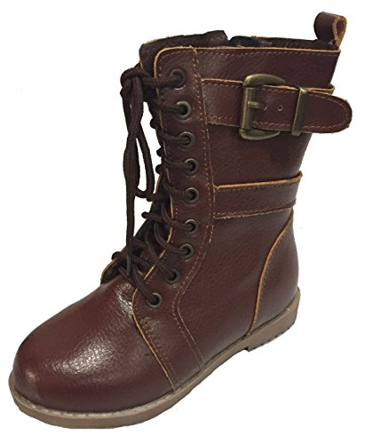 Toddler Girls Combat Lace Up Boots w/ Zipper - Brown and Black (10, Brown) (Combat Child Boots)