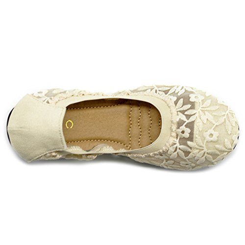 Lace Comfort On Ivory Light Floral Shoes Ballet Slip Embroidery Women's Flat Ollio wxORT7I