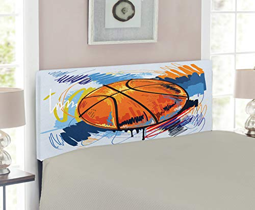 Lunarable Sports Headboard, Basketball Colorful Background Sketch Enjoyment Doodle Style Design, Upholstered Decorative Metal Bed Headboard with Memory Foam, Twin Size, Orange Blue