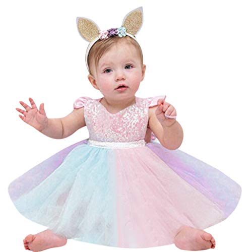 Toddler Kid Baby Girl Fly Sleeve Dresses Rainbow Color Sequined Lace Princess Romper Dress (Pink, 6-12 -