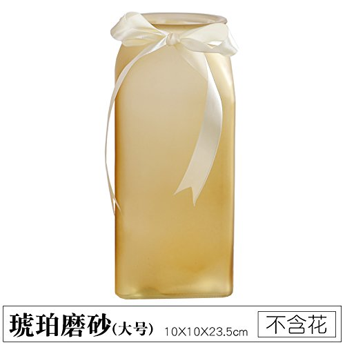 Colored Transparent Glass vase Living Room Desk Decoration (Without Flowers), Amber Matte, 10X10X23.5CM,for Home and Wedding Indoor and Outdoor ()