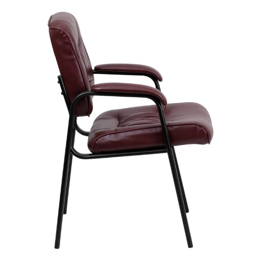 Flash Furniture BT-1404-BURG-GG Burgundy Leather Guest/Reception Chair with Black Frame Finish