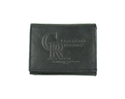 MLB Colorado Rockies Tri-Fold Leather Wallet, Black ()