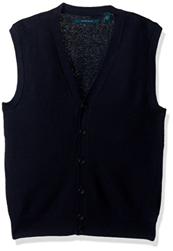 Luxe V-neck Sweater - Perry Ellis Men's Solid Textured Button Front Sweater Vest, Dark Sapphire, Small