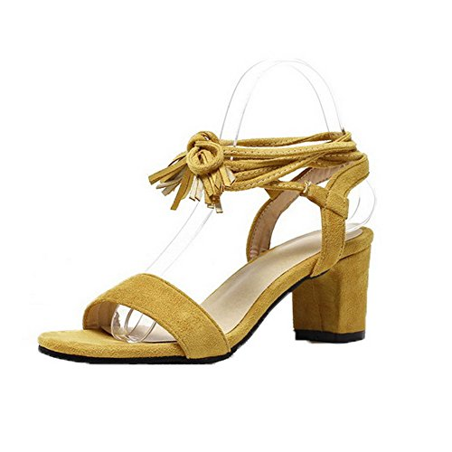 Heels Open Solid Toe VogueZone009 Sandals Kitten Lace Material Up Yellow Soft Women Xw81C