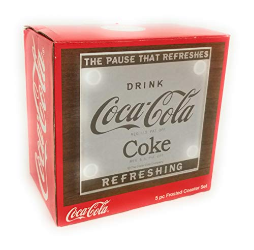 Coca-Cola 5 Piece Frosted Coaster Set with Decorative Holder