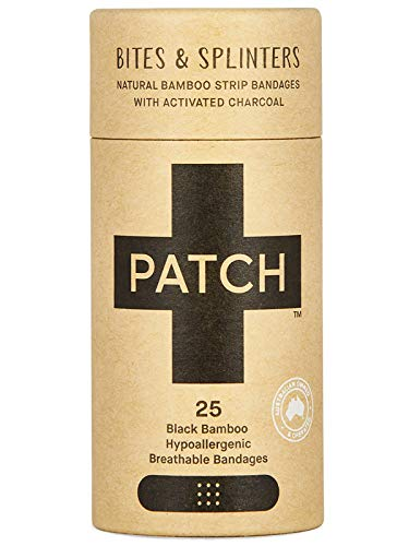 PATCH Eco-Friendly Organic Bamboo Bandage for Bites & Splinters Hypoallergenic Wound Care for Sensitive Skin, Compostable, Biodegradable, Latex Free, Plastic Free, Zero Waste, Activated Charcoal, 25ct