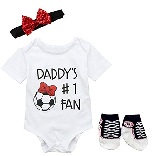 FANCYBABY Baby Toddler Referee Romper Bib Socks Shoe Shirt Outfit Set (9 to 12 Months, Soccer)