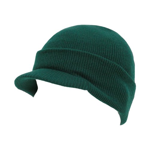 Decky Knit Cuff Beanie Visor - Winter Wear/Sports - Forest Green