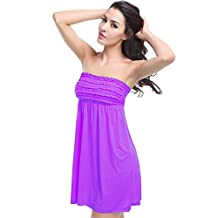 JOYHY Women's Strapless Mini Beach Dress Swimwear Cover Ups Sundress