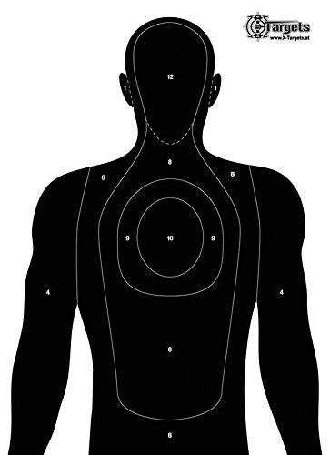 X-Targets Gro/ße Zielscheiben Human Silhouette 50x70 cm//Papier 120g//m/²