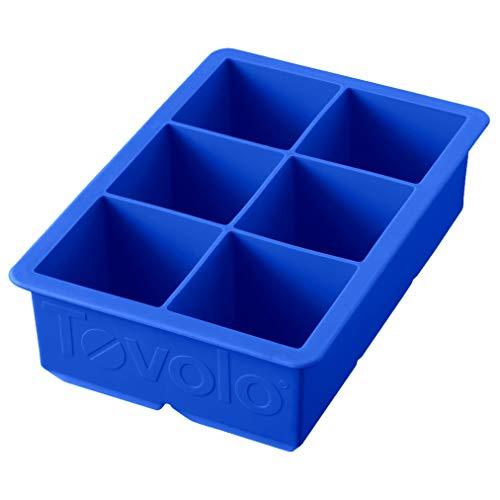 Tovolo 81-10215 Large King Ice Mold Freezer Tray of 2-Inch Cubes for Whiskey, Bourbon, Spirits & Liquor, BPA-Free Silicone, Set of 1, Capri Blue