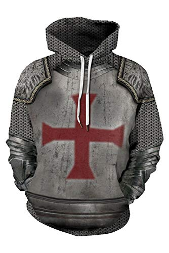 Men's Kids Medieval Armor Knights Templar Pullover Zipper Hoodie Jacket Retro Crusader Cross Printed Sweatshirt Costume Grey ()