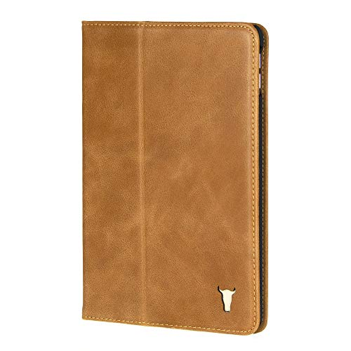 TORRO Premium Leather Smart Case Compatible with iPad Mini 5th Generation (2019 Release) Genuine USA Tan Leather Folio Cover with Stand Function for Apple iPad Mini 5 (2019) - Tan