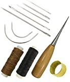 7 Pieces Curved Upholstery Hand Sewing Needles Sewing Needles with Leather Waxed Thread Cord 1 Brown 1 Black and Drilling Awl and Thimble for Leather Repair: more info