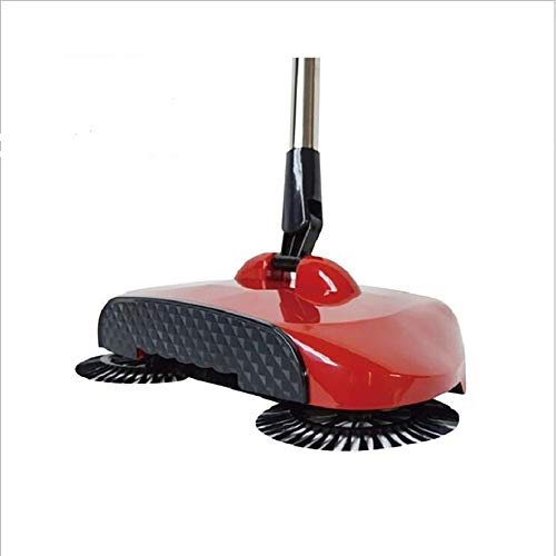 PORJH Stainless Steel Sweeping Machine Push Type Hand Push Magic Broom Dustpan Handle Household Cleaning Package Hand Push Sweeper Mop,Red