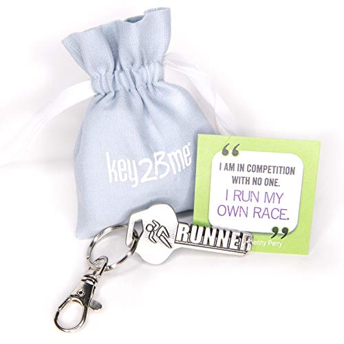 key2Bme Runner Key - Running Keychain & Inspirational Quote - The Cool Fun Unique Small Gift Under $10 for Giving Cross Country Marathon Sprint Track Run Kid Teen boy Girl Men Women Coach