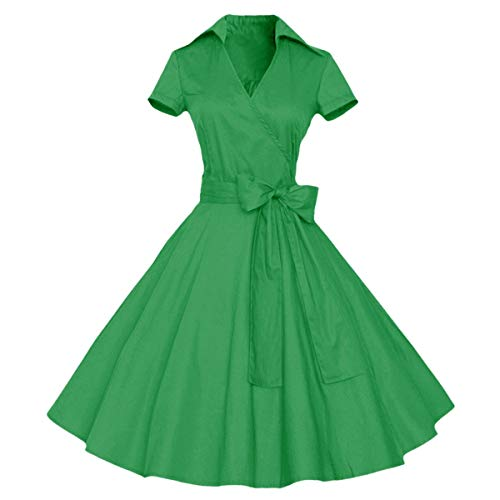 Tea Blend Green (Samtree Womens Polka Dot Dresses,50s Style Short Sleeves Rockabilly Vintage Dress(XXL(US 14),Green))